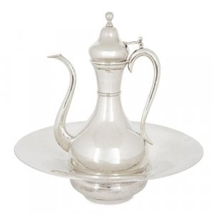 Turkish solid silver ewer and basin