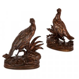 Pair of patinated bronze models of partridges by Moigniez