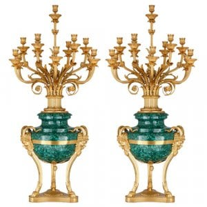 Pair of Neoclassical style ormolu mounted malachite candelabra