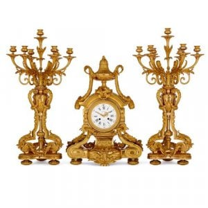 French ormolu clock set by Picard and Raingo Freres