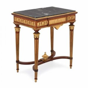 Antique Louis XVI style ormolu mounted side table by Picard