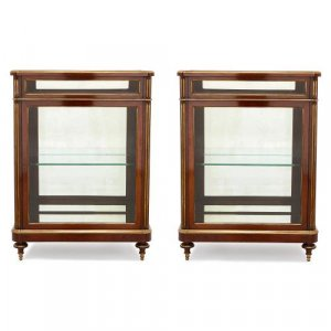 Pair of antique French mahogany and brass vitrine cabinets