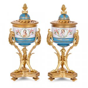 Pair of French ormolu and Sevres style porcelain vases