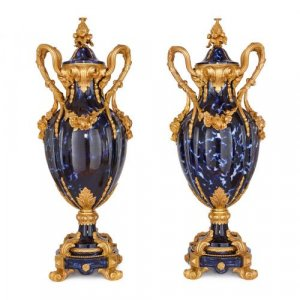 Pair of Louis XV style ormolu mounted ceramic vases