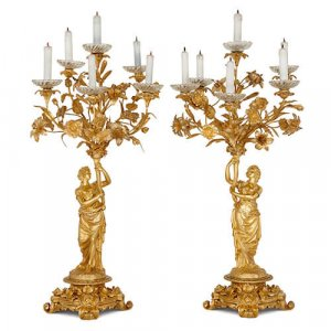 Pair of antique French ormolu candelabra by Picard
