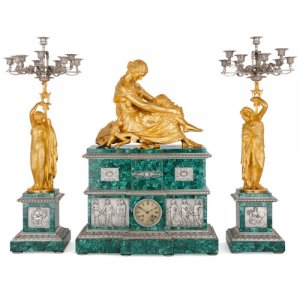 Malachite, gilt and silvered bronze clock set after Pradier