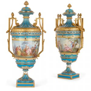 Pair of ormolu mounted Sèvres style porcelain vases
