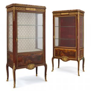 Pair of ormolu and Vernis Martin mounted vitrines by Linke