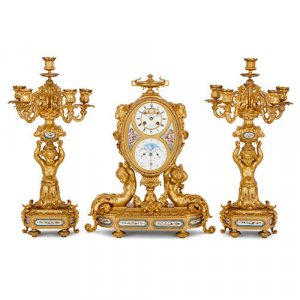 Ormolu and Sevres style porcelain clock set by Charles Oudin