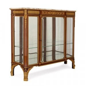 French marble topped ormolu mounted vitrine display cabinet