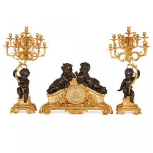 Napoleon III period gilt and patinated bronze clock set