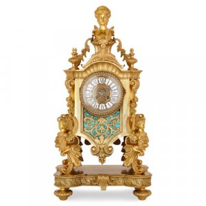 French Louis XV style ormolu and malachite mantel clock