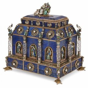 Viennese enamel, silver, rock crystal and lapis lazuli casket