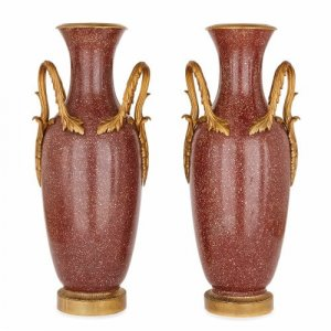 Pair of antique Italian ormolu mounted scagliola vases