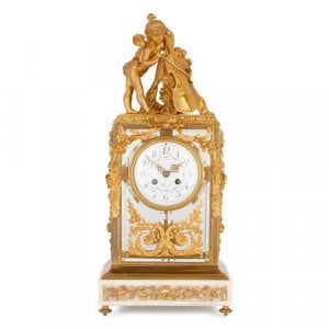 Antique French ormolu, marble and glass mantel clock