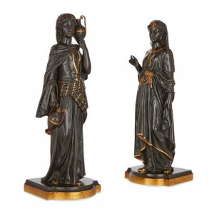 Pair of gilt and patinated bronze sculptures after Bergman