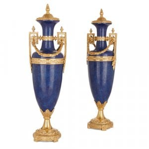 Pair of Neoclassical style lapis lazuli and ormolu vases