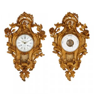 Antique Louis XV style ormolu clock and barometer
