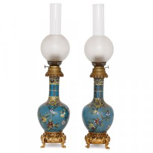 Pair of Chinoiserie style cloisonné enamel and ormolu oil lamps