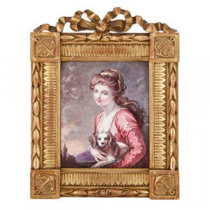 Limoges enamel portrait plaque in carved giltwood frame
