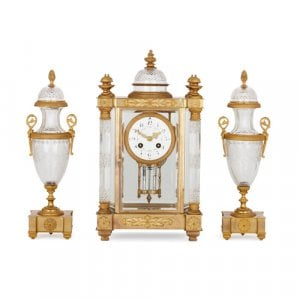 Antique Neoclassical style ormolu and cut glass clock set
