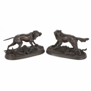 Pair of patinated bronze models of dogs by Moigniez