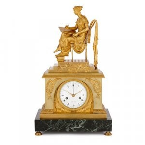 French Empire period ormolu and marble mantel clock by Fort