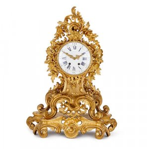 Large French antique Louis XV style ormolu mantel clock