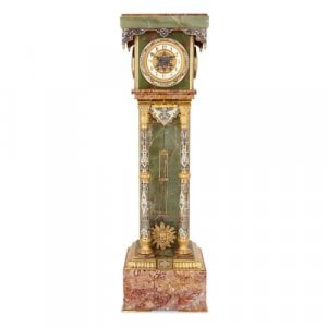 Ormolu mounted champlevé enamel, onyx and marble pedestal clock