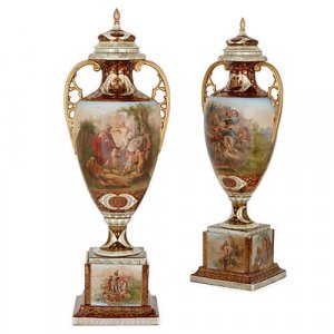 Pair of large Austrian Royal Vienna style porcelain vases