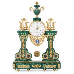 Louis XVI period malachite and ormolu mantel clock by Tavernier