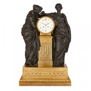 Large gilt and patinated bronze mantel clock by Deniere