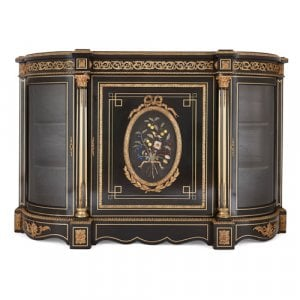 Antique ebonised wood, ormolu and pietra dura vitrine cabinet