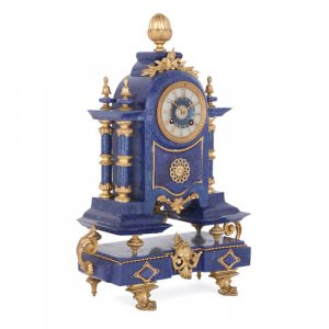 Louis XVI style lapis lazuli and gilt metal mantel clock