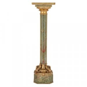 French Neoclassical style ormolu mounted green onyx pedestal