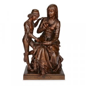 'Le Livre D'Or', patinated bronze sculpture by Faure de Brousse