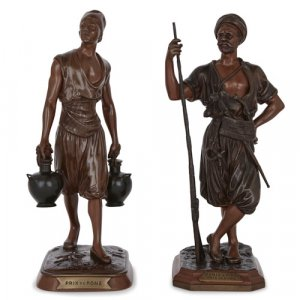 Pair of French Orientalist patinated bronze figures by Debut