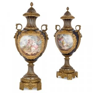 Pair of large Sèvres style porcelain and ormolu vases