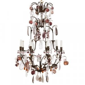 Rock crystal, quartz, glass and metal eight-light chandelier