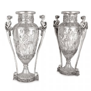 Pair of large French Neoclassical style silvered bronze vases