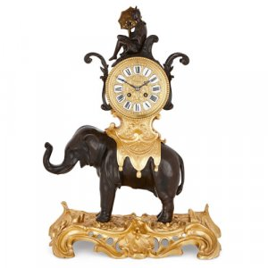 Chinoiserie gilt and patinated bronze elephant mantel clock