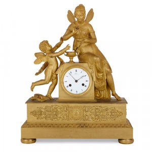 Empire period ormolu clock with Cupid and Psyche by Galle