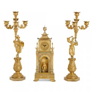 Antique Chinoiserie cold painted ormolu matched clock set
