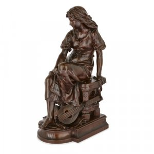 'Mignon', large bronze female figure by Aizelin and Barbedienne