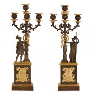 Pair of Empire style gilt and patinated bronze candelabra
