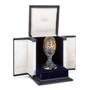 Gold, enamel, diamond and precious stone egg by Asprey