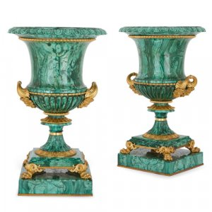 Pair of ormolu mounted Ekaterinburg malachite vases by Galberg
