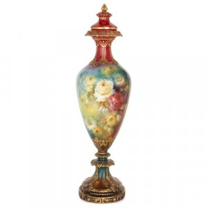 Large German Royal Bonn floral porcelain vase