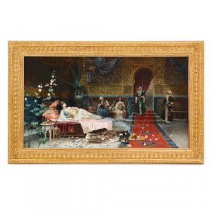 'In the Harem', Orientalist oil painting by Giménez-Martín