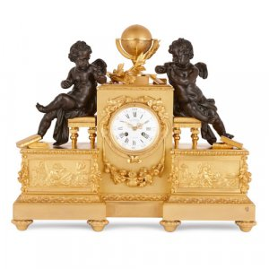 Gilt and patinated bronze mantel clock by Delafontaine